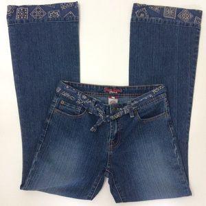 Bisou Bisou Flair Jeans Bandanna Hem Sz 4 Boho